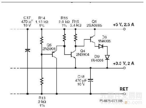 图3:用于多路输出反激式转换器的有源并联稳压器。   该电路的工作方式如下:两个输出端都处于稳压范围时,电阻分压器R14和R13会偏置三极管Q5,进而使Q4和Q1保持在关断状态。在这样的工作条件下,流经Q5的电流便充当5V输出端很小的假负载。   5V输出端与3.3V输出端的标准差异为1.