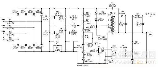 对于开关电源模块两个输出端都提供实际功率(5V 2A和12V 3A,两者都可实现± 5%调节)的双路输出反激式电源来说,当电压达到12V时会进入MTD2002零负载状态,而无法在开关电源模块5%限度内进行调节。线性稳压器是一个可实行的解决方案,但由于价格昂贵且会降低MTD2002效率,仍不是理想的解决方案。我们建议的解决方案是在12V输出端使用一个磁放大器,即便是反激式拓扑结构也可使用。   为了降低成本,建议使用铁氧体磁放大器。然而,铁氧体磁放大器的控制电路与传统的矩形磁滞回线材料(高