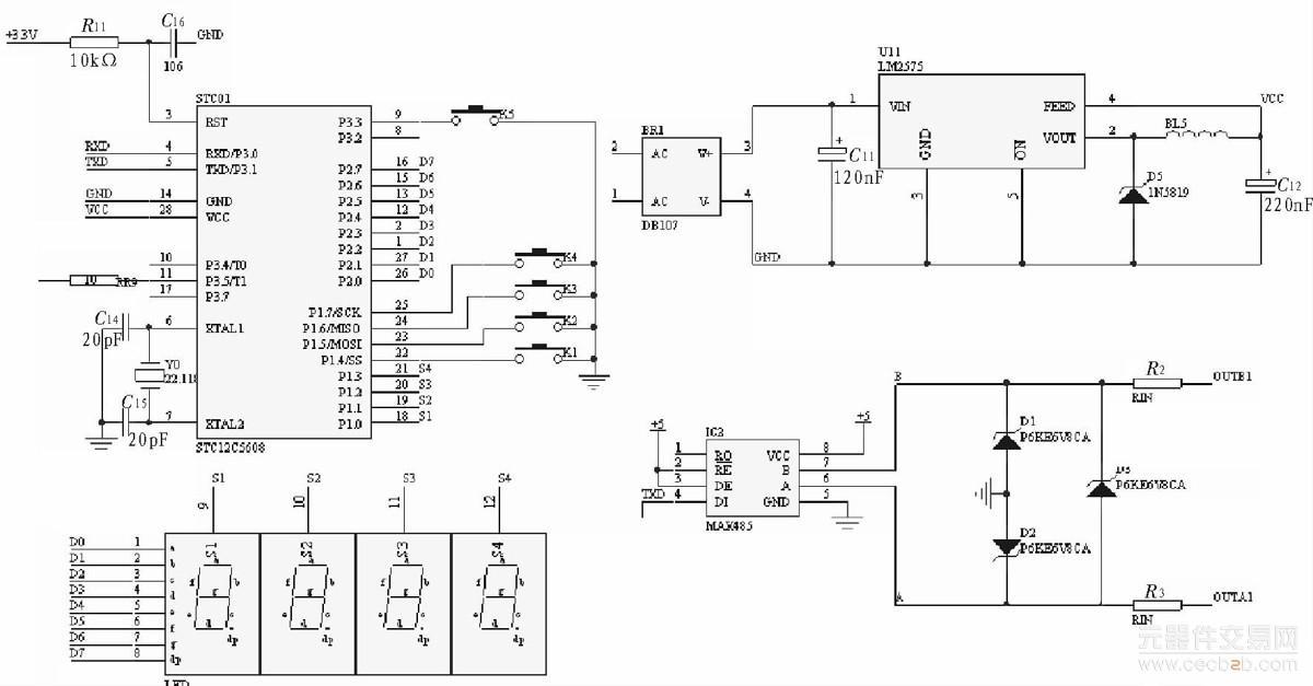 主控制器包括stc单片机最小系统,电源部分,led动态显示电路,按键