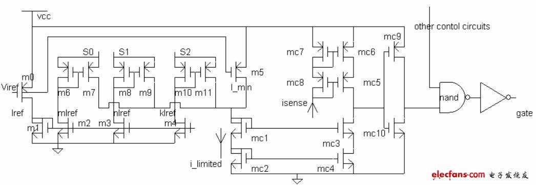 与非门和倒相器构成控制电路, 直接驱动功率mos 管, 控制其导通或关