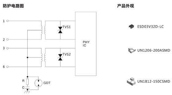 [供应]硕凯放电管un1206-200asmd百兆以太网口防护方案 硕凯socay