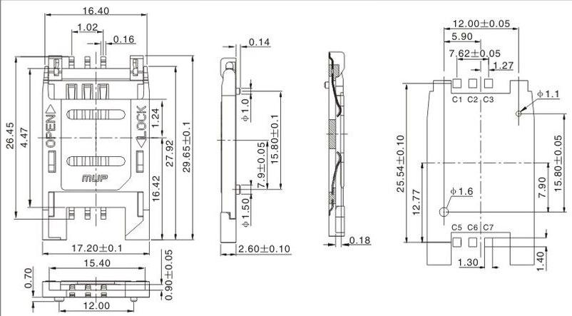 供应sin卡座连接器 sim 卡座 翻盖式6pin