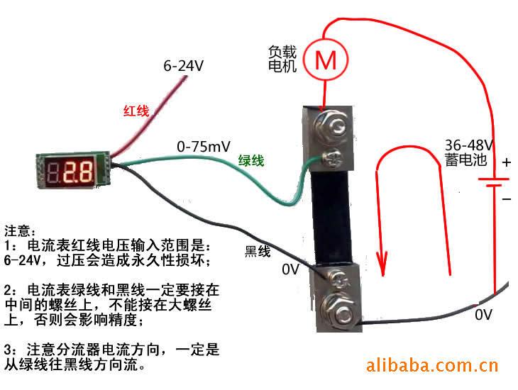 [供应]0.56测20a直流数字电流表/套装(电流表 20a分流器) bt0.