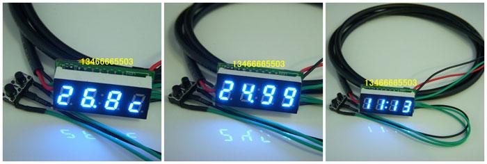 30数码管电子钟 单片机电子表【时间 温度 电压】三合一电子表 0.