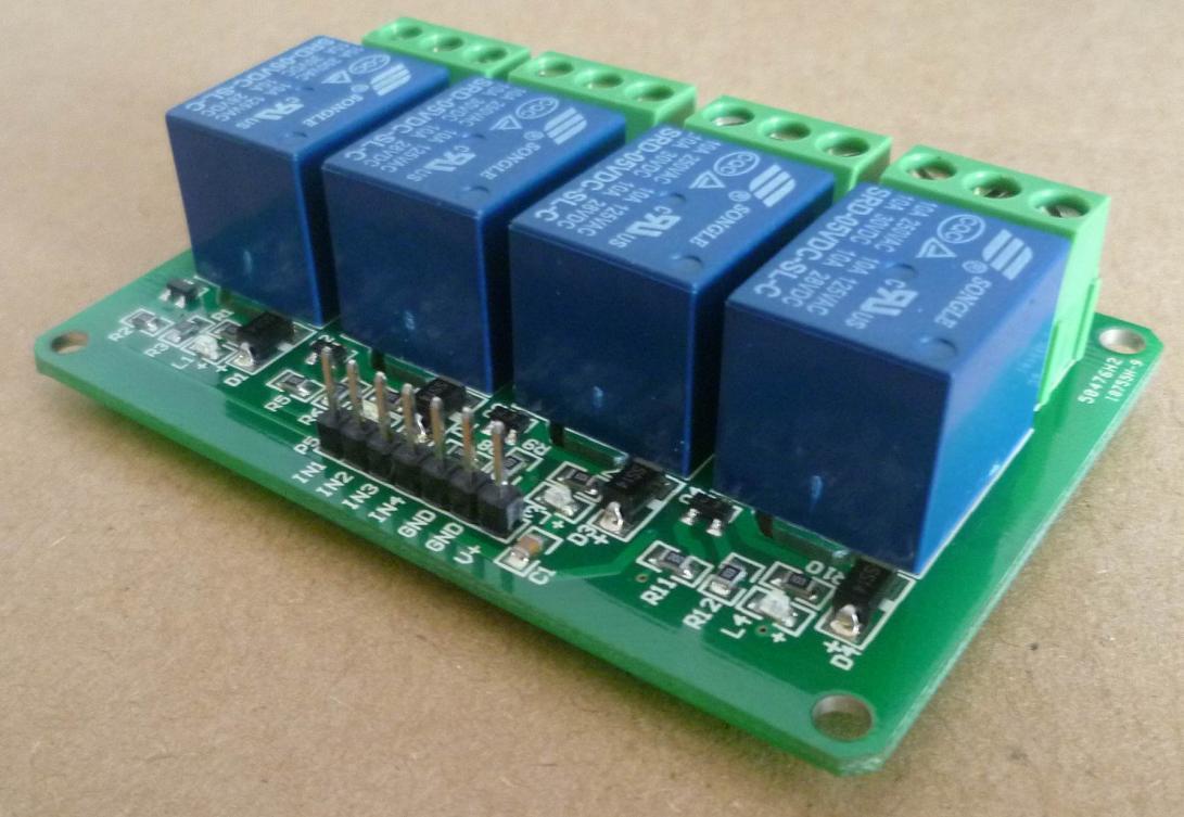 [供应]四路继电器模块 5v 12v 24v 单片机开发板 扩展板 家电控制 4