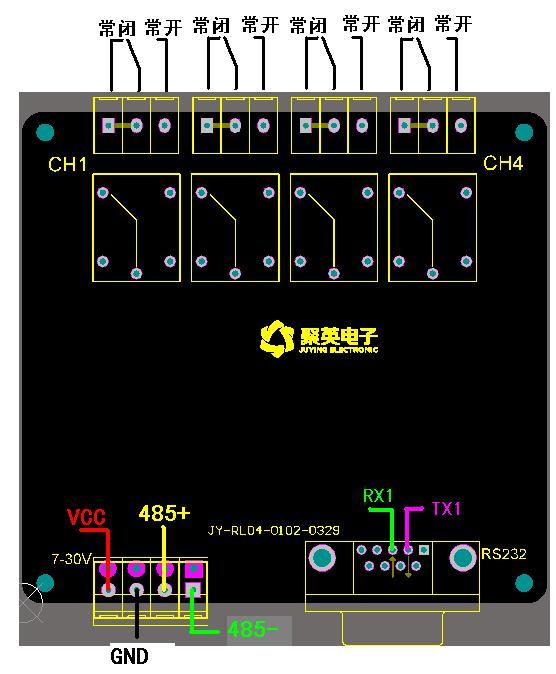 [供应]串口控制继电器 4路串口继电器控制板 do0400 聚英电子